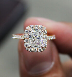 1.90 Ct Natural Radiant Halo Pave Diamond Engagement Ring - GIA Certified