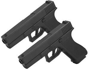 2x Pistole Voll ABS Softair Erbsenpistole V307 Replika Glock 17 Gun - 0,5 Joule