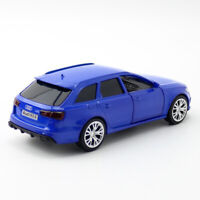 1:36 Audi RS 6 Avant Model Car Diecast Toy Vehicle Pull Back Doors Open Blue Kid