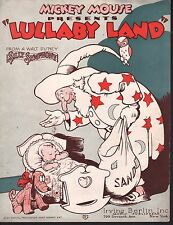 Mickey Mouse Present's Lullaby Land 1933 From Disney Silly Symphony Sheet Music