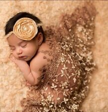 Lace Sheer Floral Tassel Baby Newborn Wraps In BROWN Photography Props