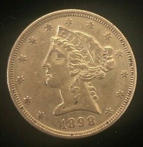 1898 $5 Liberty Gold Coin.! Uncertified.! NR.!