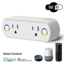 Mini Smart Wifi 2 in 1 Plug Outlet Swtich Work Echo Alexa Google Home App Remote