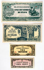 4 different countries WW2 Japanese invasion paper money of Burma, Malaya, NEI