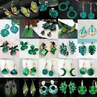 Green Crystal Tassel Statement Earrings Women Drop Dangle Wedding Party Jewelry