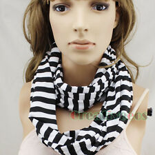 Black White Striped Scarf Infinity Scarf Cotton Scarf Womens Ladies Scarf Snood