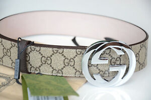 Authentic GUCCI BEIGE GUCCISSIMA Silver GG Buckle Belt size 105 / 42 fits 36-38