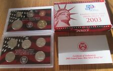 2003 Silver Proof Set U.S. Mint Box and COA 10 coins 5 State Silver Quarters