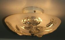 "Antique roses frosted glass 13"" Art Deco flush mount ceiling light fixture 1940s"