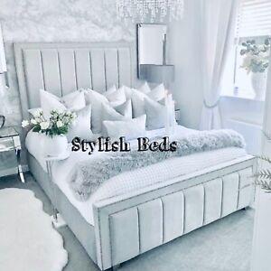 New Plush Velvet Stylo Sleigh Bed Frame With Memory Foam Mattress in All Sizes