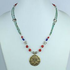 Natural Turquoise,Red Coral & Lapis Lazuli Handmade Graceful Necklace NN-9681