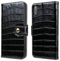 Crocodile Pattern Genuine Leather Wallet Case for iPhone X / Xs / Xs Max / XR