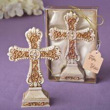 12 Antique Ivory Cross Statue Matte Gold Filigree Detailing Christening Favors