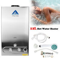 12L Home LPG HOT Tankless Gas Hot Water Heater Instant Stainless Steel Boiler