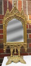 "Large 24.25"" Antique Gilded Cast Iron Gothic Cathedral Design Tilt Vanity Mirror"