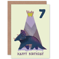 Dinosaur Triceratops 7th Birthday Blank Greeting Card With Envelope