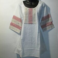 Top M L XL Tunic Ivory Paisley Metallic Gold and Red Ribbon Neck Cotton NWT 162