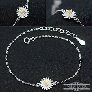 925 Sterling Silver Bracelet Anklet Daisy Flower Ankle Jewellery Chain Sunflower