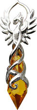 Phoenix Flame for Renewed Energy and Confidence Pendant necklace Amber Stone