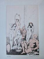 MILO MANARA omaggio a Picasso L'Harem 1906 acquatinta acquaforte stampa etching