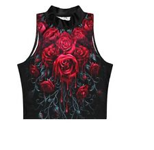RED ROSES  PRINTED SEXY TOP HALLOWEEN HORROR GOTH VAMP