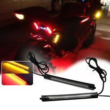 2pcs Switchback R/A LED Fork Rear Turn Signal Strip Brake Lights For Motorcycle