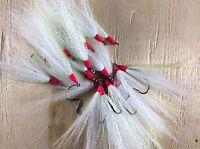 5/0 Saltwater fishing WHITE/flash Cod bucktail teaser hooks Fluke 20pcs
