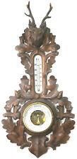 Gründerzeit Historismus Barometer Thermometer Wetterstation mit Hirsch um1880