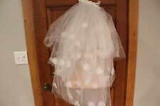 VINTAGE ! WHITE VEIL, HEADPIECE  WITH IVORY HEAD PIECE WHITE PEARLS 3 TIER ELBOW