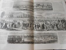Gravure 1863 - Fêtes de Cherbourg régates courses de chevaux