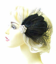 Black Ivory Silver Pearl Feather Fascinator Hair Clip 1920s Flapper Races 1810