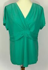QVC Sea Green Motto Short Sleeve Knit Top W/ Ruching A198888 Size L
