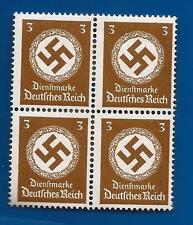NAZI GERMANY 3 Pf POST OFFICE 3rd Third Reich Swastika postage stamp block MNH
