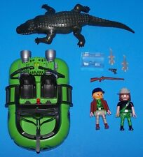 Playmobil 4446 Alligator Hunters and Hovercraft Gator Boat crocodile river swamp