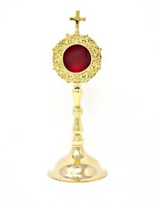 High Polished Brass Monstrance Reliquary for Relics for Catholic Church, 8 Inch