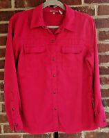 """CHICOS Size 1 Faux Suede Fuchsia Pink Button Down Shirt Womens Chest 42"""""""