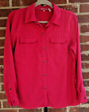 CHICOS Size 1 Faux Suede Fuchsia Pink Button Down Shirt Womens Chest 42""
