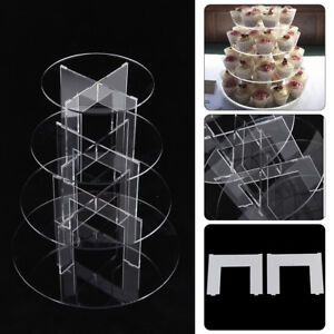 4 Tier cake Stand Clear Afternoon Tea Wedding Plate Party Tableware Display UK
