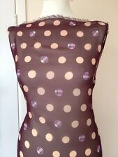 """Spotted Tartan Polka Dot CHIFFON Fabric Dress Crafts Material 60"""" Purple/Brown"""