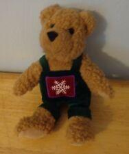 "Hallmark 10"" Holiday Teddy Bear Wear Green Bib Pants With Snowflake Animal Doll"