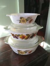 Vintage 3 x Pyrex White Casserole Oven Vegetable Dishes with Lids Veg Flower
