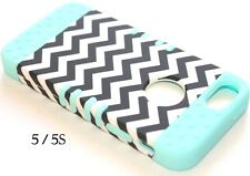 For iPhone SE 5S HARD&SOFT RUBBER HYBRID SKIN CASE MINT BLUE BLACK CHEVRON WAVES