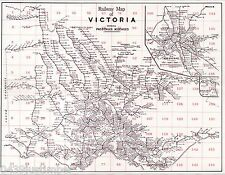Victorian Railways Map Showing the Lines in Use in the Late 1940's A2 size copy