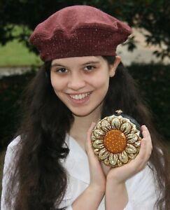 Kathrine Baumann Limited Edition Sunflower Clutch Bag w/ Judith Leiber Mirror