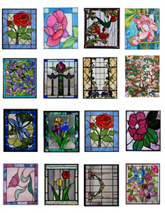 Dollhouse Miniature 1:12 Stained Glass Windows Clear Window Stickers #2
