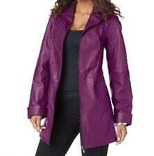 Women's Winter Fall Spring 100% Genuine Leather A-line Jacket coat plus 18W 1X