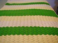 "Hand Crochet Afghan Shell Stitch Scallop Edge Green White Yellow 60"" X 42"" Throw"
