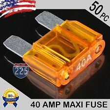 50 Pack 40A AMP Platinum Plated Large Audio Blade MAXI Fuse 12V 24V 32V Auto US
