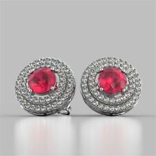 3.25 Cts Round Brilliant Cut Natural Diamond Ruby Halo Stud Earrings In 14K Gold
