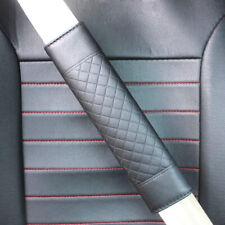 2x Adjustable Soft Car Safety Belt Cover PU Leather Seat Belt Shoulder Pad Black